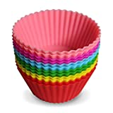 Kitchen Buddies Top Quality Silicone Baking Cups • Set of 12 • Standard Size • Nonstick Cupcake Molds / Liners • Lifetime Replacement Guarantee • FDA Approved & BPA Free • Go Paperless With Your Bakeware Supplies • Storage Container With 6 Vivid Colors