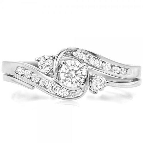 0.50 Carat (Ctw) 10K White Gold Round Diamond Ladies Swirl Bridal Engagement Ring Matching Band Set 1/2 Ct (Size 5)