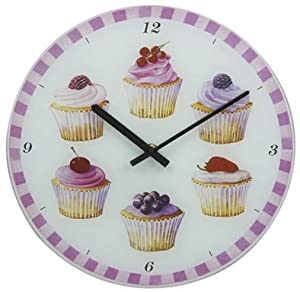 Kitchen wall clock. Cupcake design. 17cms in width across.: Amazon