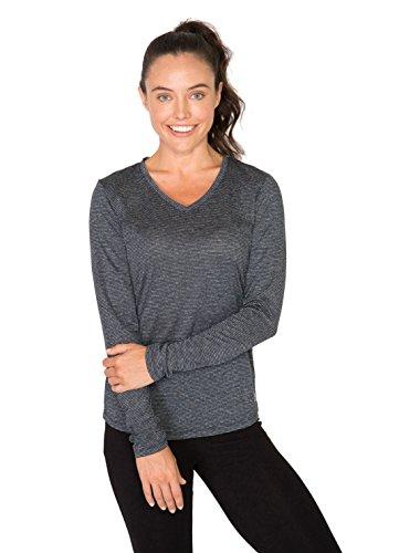 RBX Active Women's Long Sleeve Heathered Stripe V-Neck Black Combo Heather XL