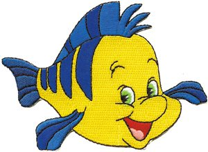 Disney Little Mermaid Fish Flounder Embroidered Iron On Patch DS-334