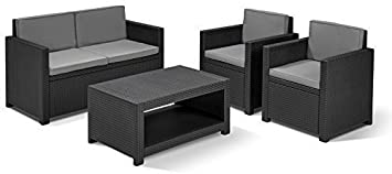 Neue Allibert Monaco Lounge Gartenmöbel-Set, fur den Garten, Rattan, mit Sofa Tisch Stullen Hochwertiges, 4-teiliges Set, mit 12 Monaten Garantie Made in Netherlands