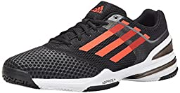 Adidas Performance Men\'s Sonic Rally Tennis Shoe, Black/Solar Red/Metallic Grey, 12.5 M US