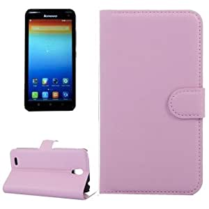Horizontal Flip Solid color Leather Case with Card Slots & Holder & Wallet for Lenovo A859 (Pink)