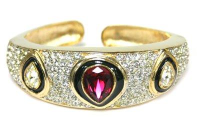 Ruby Teardrop Gemstone Gold Bracelet Cuff with Cubic Zirconia Rhinestones - Fashion Bracelet Bangle