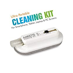 Amkette Ultra Portable Cleaning Kit for Smartphone, Tablet, Laptop and Desktop Screen with Nano Fiber Cloth Brush with Free Additional Antibacterial Liquid Solution (100 ml)