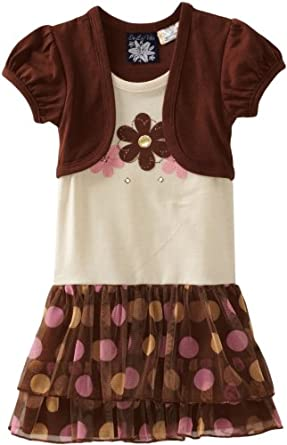 So La Vita Little Girls' Flower And Dots Dress With Hot Fixed Stones, Brown, 6