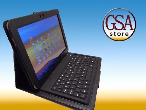 GSAstore - Samsung Galxy Tab Bluetooth Keyboard and Leather Case - Custom Designed By GSAstore ™ For Galaxy Tab P7510. Fits Samsung Galaxy Tab 10.1