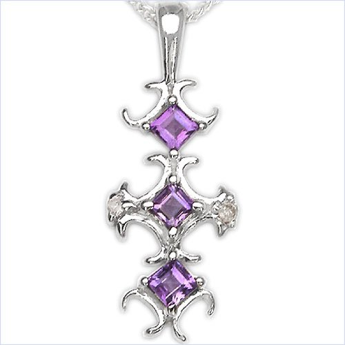 Jewelry-Schmidt-Collier / Necklace with Diamond / Amethyst Pendant in Rhodium Plated 925 Silver