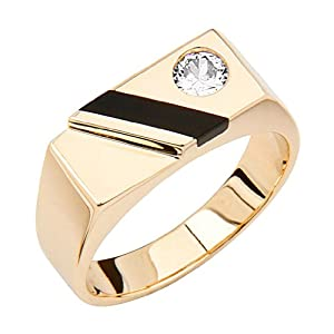 7.5mm 14K Yellow Gold High Polish Plain Single Solitaire CZ and Onyx Men's Ring - Size 12