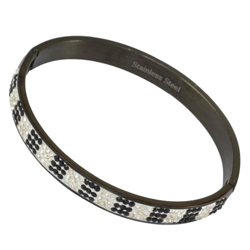 Kadima Stainless Steel Bangle Black IP Plated With 3-Line Clear/Black Gemstone