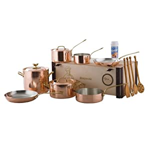 Ruffoni Opera Decor 10-Piece Copper Cookware Set in Wooden Box