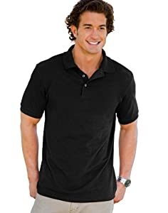 Hanes Men's 7 oz Hanes STEDMAN Cotton Pique Polo, L-Black