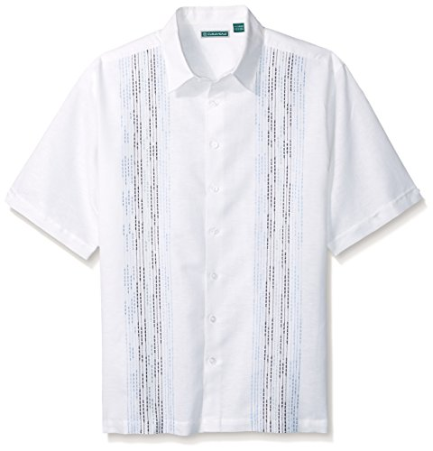Cubavera Men's Big-Tall Short Sleeve Ombre Slub Embroidered Panel Woven Shirt, Bright White, 2X