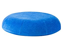 Aeris Donut Pillow - Queen Size Memory Foam Seat Cushion with Machine Washable Blue Plush Velour Cover