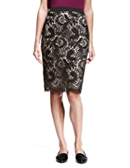 Autograph Floral Lace Pencil Skirt
