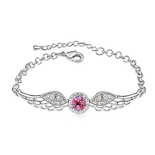 pulsera-de-plata-de-la-noche-estrellada-lovely-pink-diamond-acentuado-ala-de-angulos-para-moda-mujer