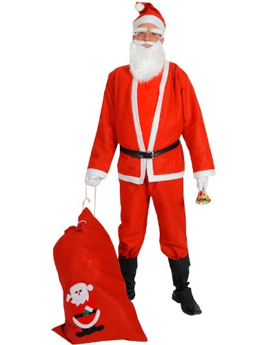 Cheap Santa Suit Budget Father Christmas Fancy Dress Costume Xmas Mens Outfit
