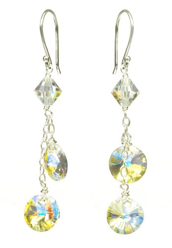 Sterling Silver Swarovski Elements Crystal Aurora Borealis Lentils and Bicone Bead Drop Earrings