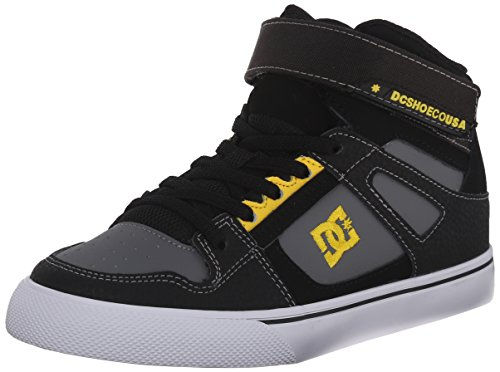 DC Spartan High EV Youth Shoes Skate Shoe (Little Kid/Big Kid), Black/Yellow, 5 M US Big Kid