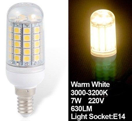 True Huimin 7W 220V E14 59X5050Smd Epistar Warm White Led Corn Bulb