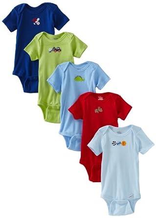 Gerber Baby-Boys Newborn 5 Pack Solid Bodysuits Brand, Blue/Green, 0-3 Months