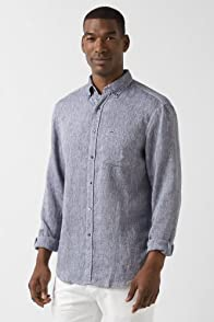 Long Sleeve Linen Button Down Woven Shirt