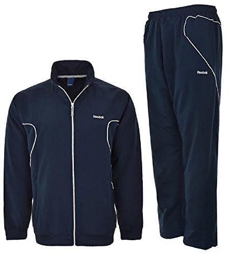 Reebok K27208- Tuta in tessuto con giacca e pantaloni, cuciture a rilievo, da uomo, taglie M, L e XL, colore: Blu/Bianco