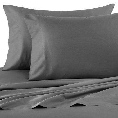 Ras Decor Linen Egyptian Cotton 500-Thread-Count 6 PCs Home Bedding Sheet Set (1 Fitted Sheet+ 29 Inch Drop,1 Flat Sheet & 4 Pillow Case) Dark Grey Solid Full Size
