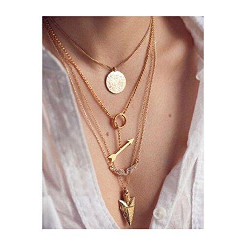 Ularmo 2015 Women Multilayer Irregular Crystal Gold Pendant Chain Statement Necklace