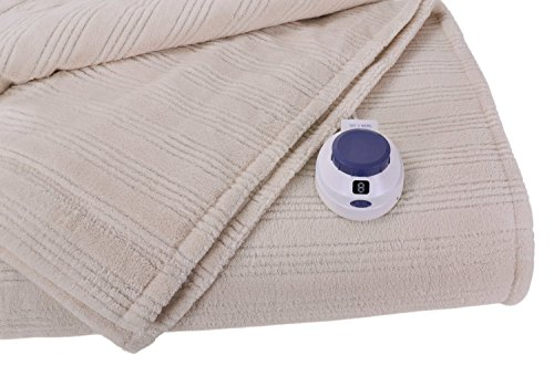 Soft Heat Ultra Micro-Plush Low-Voltage Electric Heated Triple-Rib Full Size Blanket, Natural