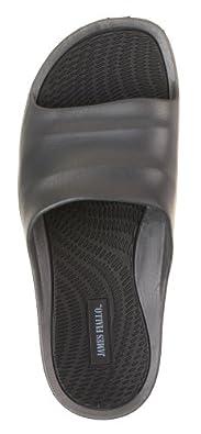 J. Fiallo Mens New Slide Beach Sandal Slippers in 3 Classy Colors (13, Grey/Black)