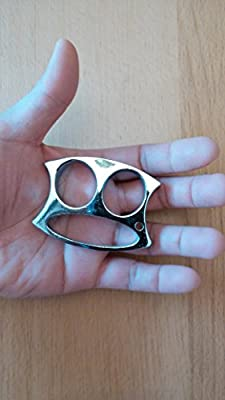 "Two Fingers ""Stainless"" Metal Keychain / Keyring Holder Self Defense Emergency Survival Tool by JCV"