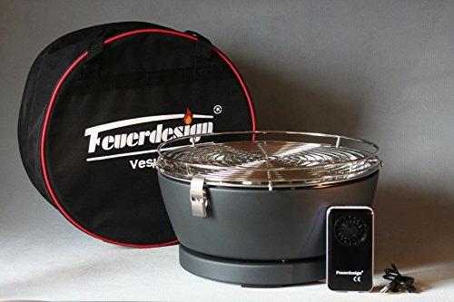Feuerdesign Vesuvio Antracite- BBQ a carbone con ventola a batteria