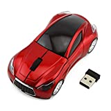Sport Car Shape Mouse 2.4GHz Wireless Optical Gaming Mice 3 Buttons DPI 1600 Mouse for PC Laptop Computer (Red)