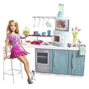 Barbie kitchen doll kitchen gift set toys for Doll kitchen set