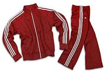 Adidas Womens Athletic and Casual Tracksuit, Pants and Jacket (Medium, University Red)
