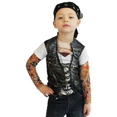 Photorealistic Youth Biker Tattoo Long Sleeve T-shirt