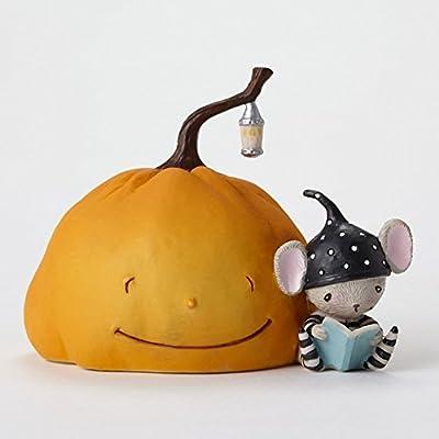 Enesco Halloween Stacy Yacula Pumpkin and Mouse Figurine, 2.5-Inch