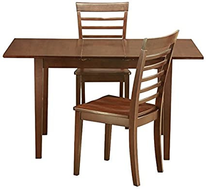 East West Furniture NOML3-MAH-W 3-Piece Kitchen/Dinette Table Set