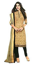 Janasya Women's Beige Polyester Printed Unstiched Dress Material (DR-016-Printed.A)