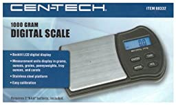 CEN-TECH® 1000 Gram Digital Scale with Stainless Steel Platform and Backlit LCD Display (CT-60332) For Measurements in Grams (g), Ounces (oz), Grains (gn), Pennyweights (dwt), Troy Ounces (ozt) and Carat (ct) Units