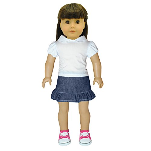 Doll Clothes - Fashion Jean Skirt and shirt White Shirt Combo Fits American Girl Doll, My Life Doll, Our Generation and other 18 inch Dolls