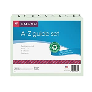 Smead Guide Set Letter, 25 Divisions, A-Z Self Tab, 1 Set (50376)