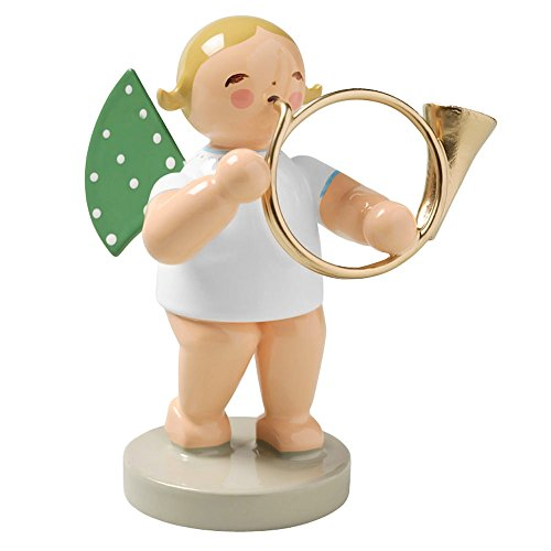 Wendt & Kuhn Blonde Hand Painted Grunhainichen Angel Bass Horn Figurine