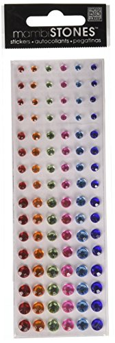 Me & My Big Ideas Rhinestone Stickers 6-1/2 Inch by 2 Inch Sheet, Red/Orange/Green/Pink/Lt. Blue/Blue - 1