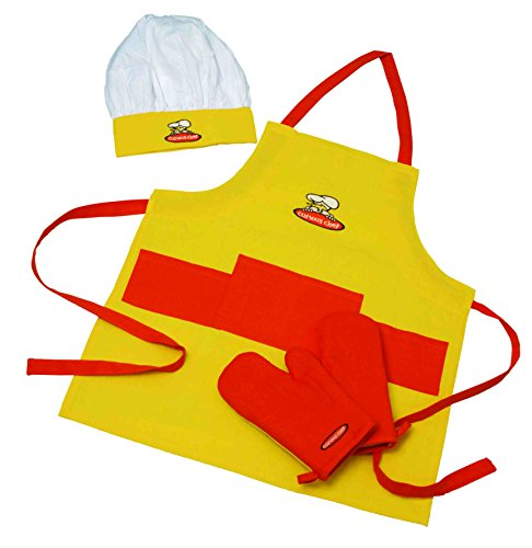 Curious 4-Piece Child Chef Textile Set, Yellow and Orange