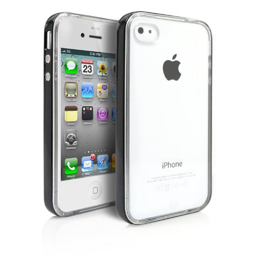 iPhone 4 Case, MagicMobile® Hard Flexible Clear Transparent Slim Rubber TPU Skin Cover with Black Bumper Frame Color: Clear