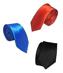 Combo of Vibhavari Men's Blue, Red & Black Sleek Tie