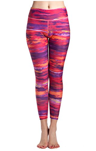 lotus-instyle-womens-graphic-sunset-cloud-print-seamless-stretch-active-pants-leggings-red-s